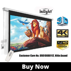 Inlight 120 inches Diagonal, UHD-3D-4K Ready best Motorised Projector Screens in india 4_3 Aspect Ratio, 8 Ft x 6 Ft (White)